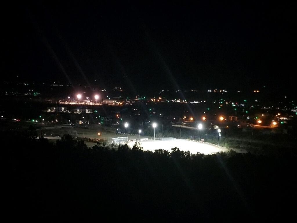 Baseball and football fields from midland with lights