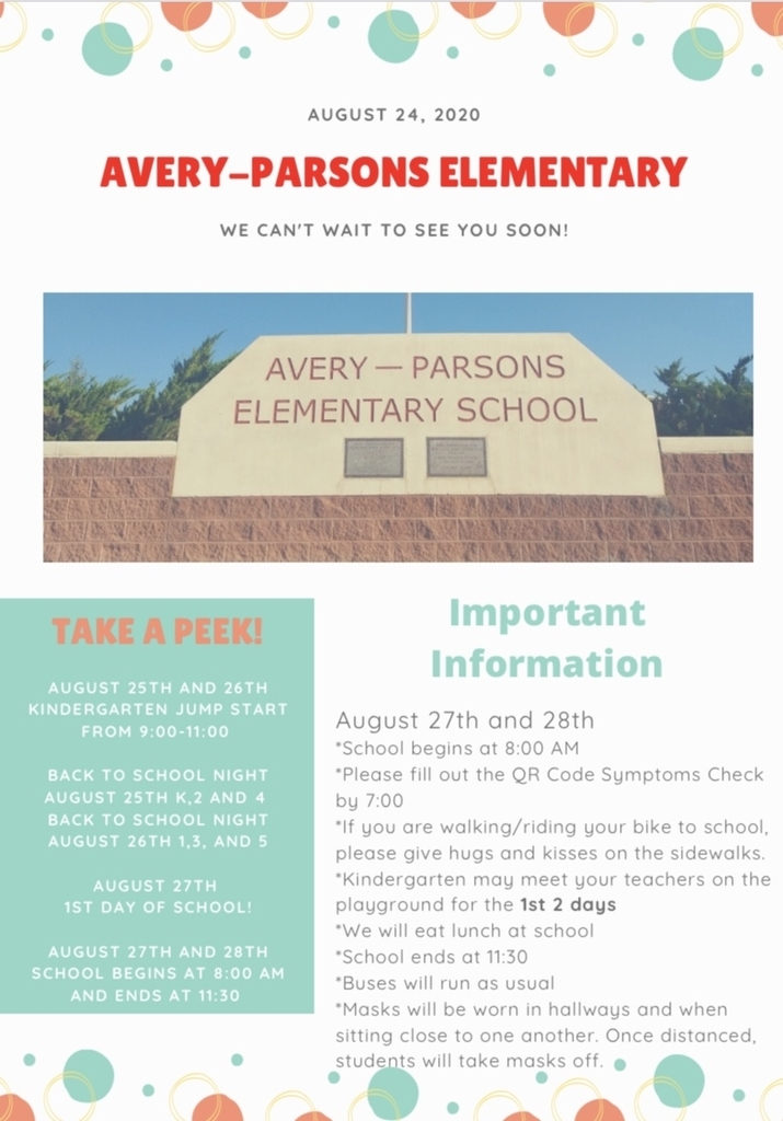 Avery Parsons back to school flier